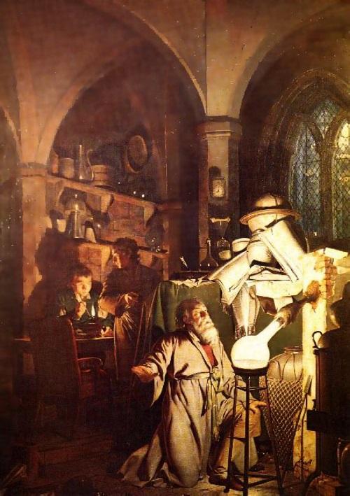 O alquimista em busca da pedra filosofal, pintura de Joseph Wright.