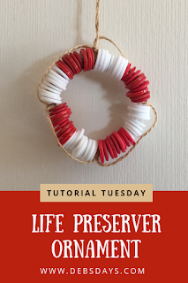 Homemade Life Preserver Christmas Tree Ornament Made from Buttons Craft Project