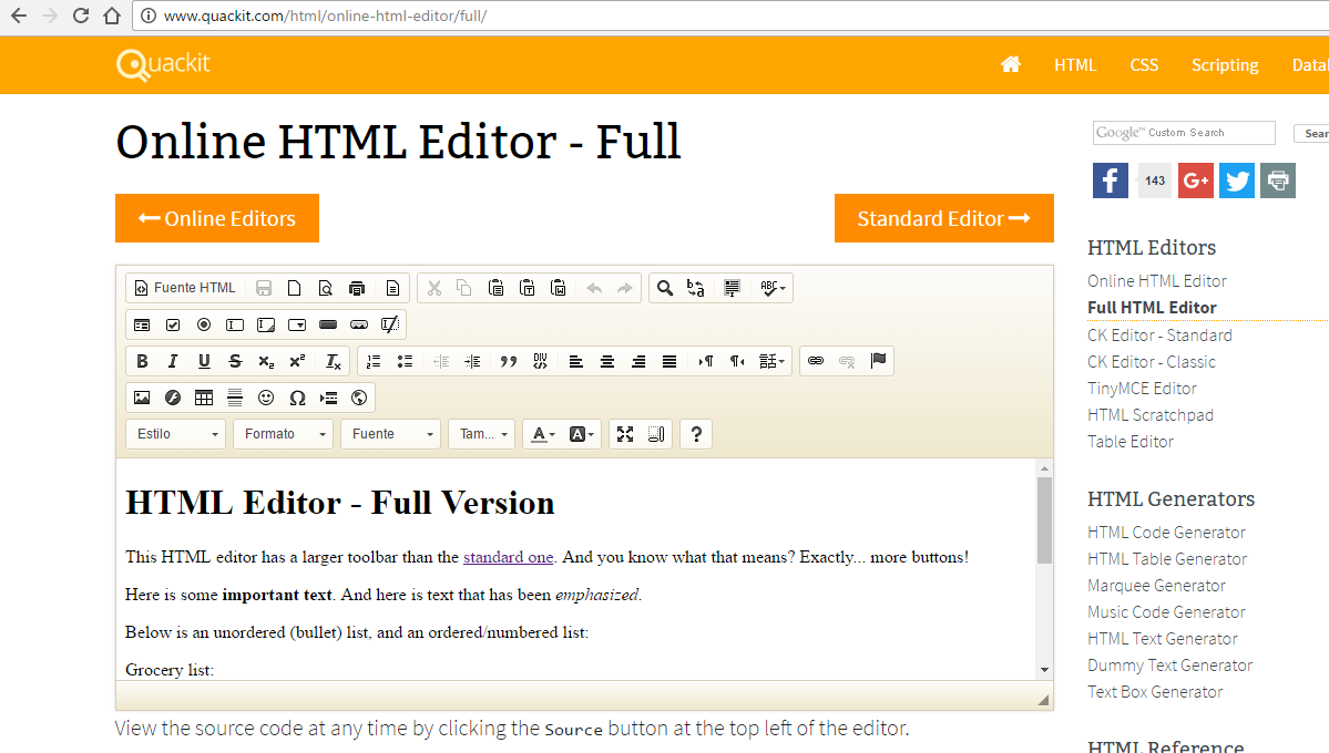 Editores HTML online