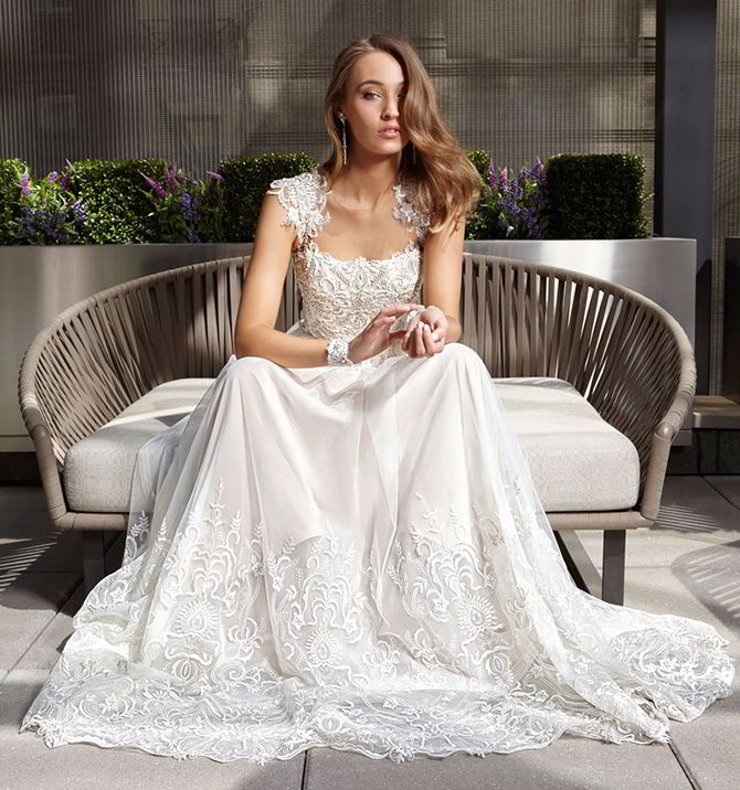 White Embroidery Wedding dress 2017