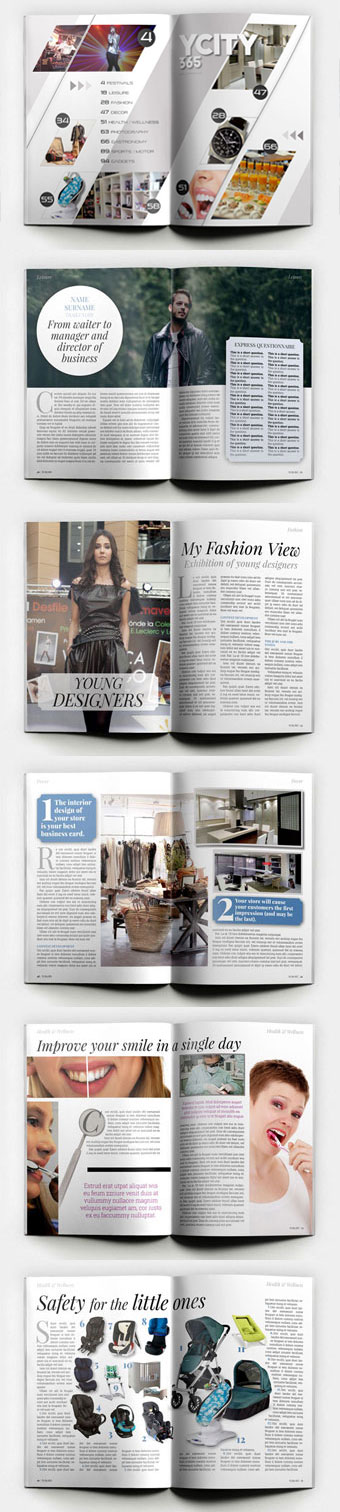 YCity365 Lite Template for InDesign Magazine, some pages in a use example