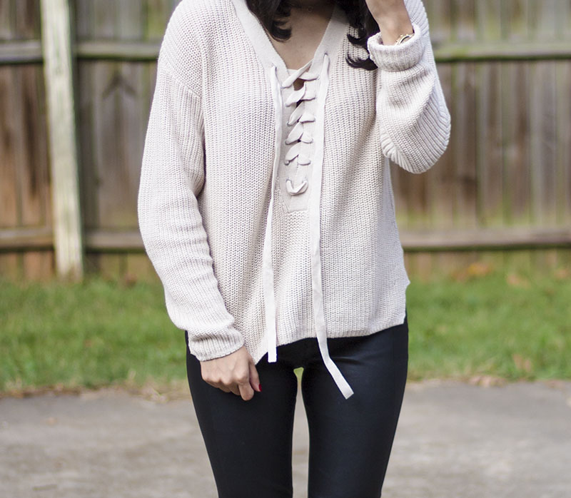 chunky knit lace up sweater outfit