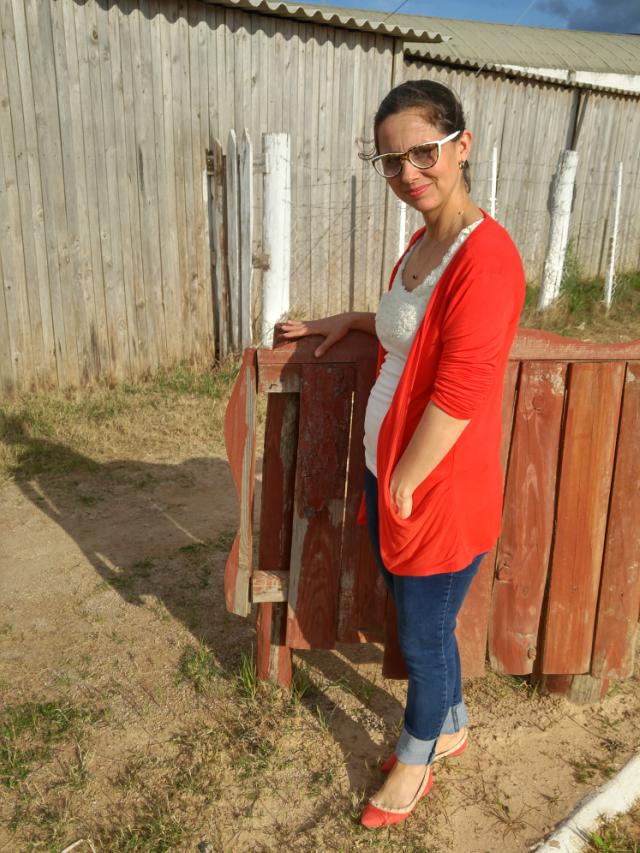 maxi cardigan vermelho