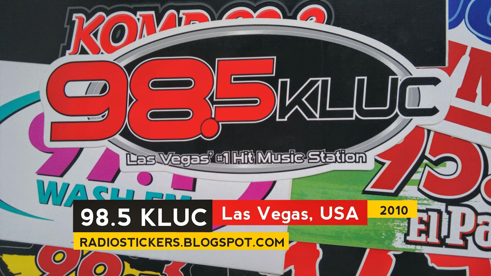 radio station stickers and more 98 5 kluc las vegas 1990s 2010. Black Bedroom Furniture Sets. Home Design Ideas