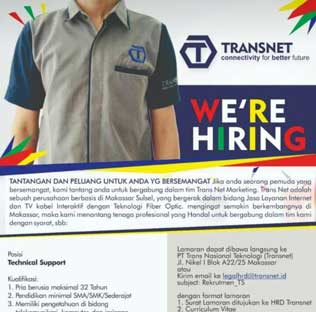 Lowongan Kerja Technical Support di Transnet Makassar