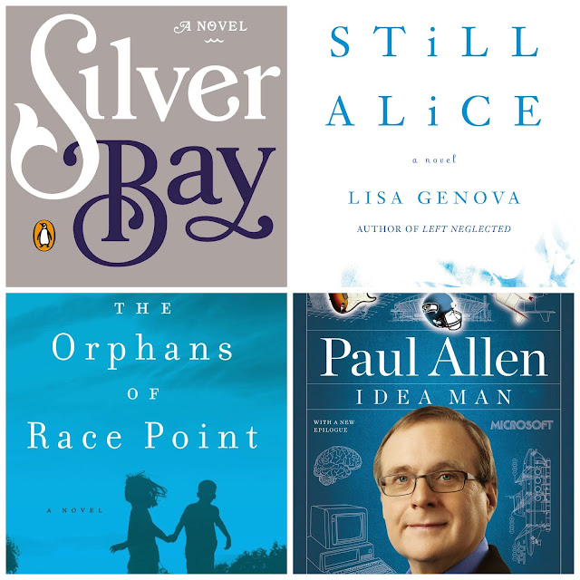 Book covers: Silver bay, Still Alice, The orphans of Race point, The idea man.