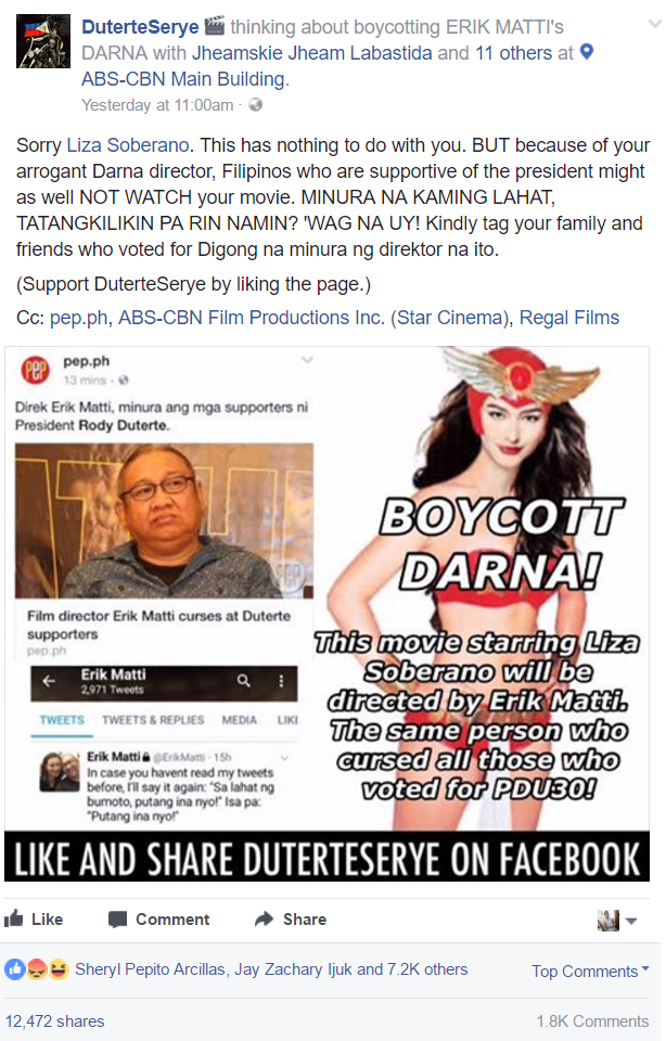 Netizens call for boycott of Erik Matti upcoming movie Darna over anti-Duterte remark