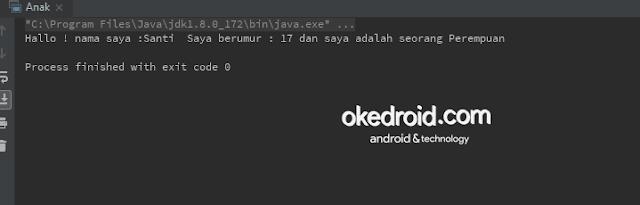 Output Hasil di Contoh Code membuat dan memanggil mendeklarasikan menginisialisai objek class di java