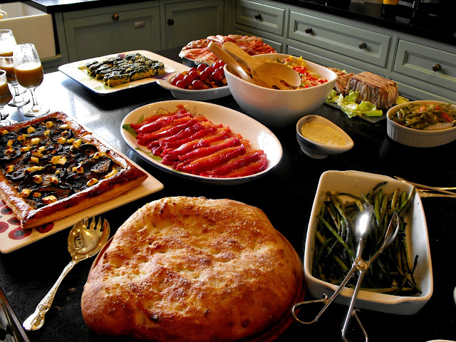 Foccacia, sauteed asparagus, aubergine tart and gravadlax for lunch