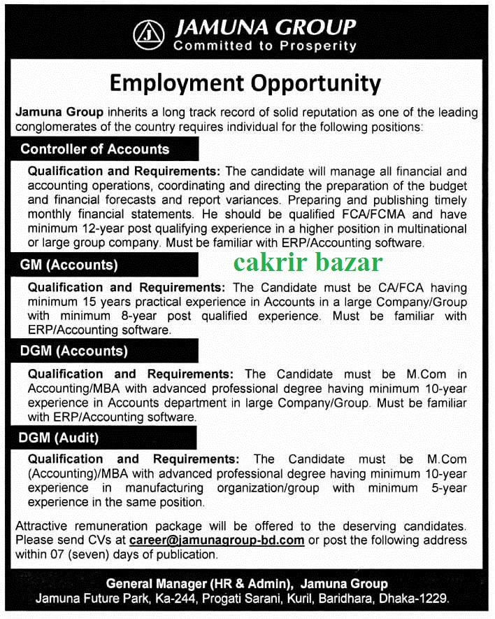 Jamuna Group job recruitment notice cakrir bazar