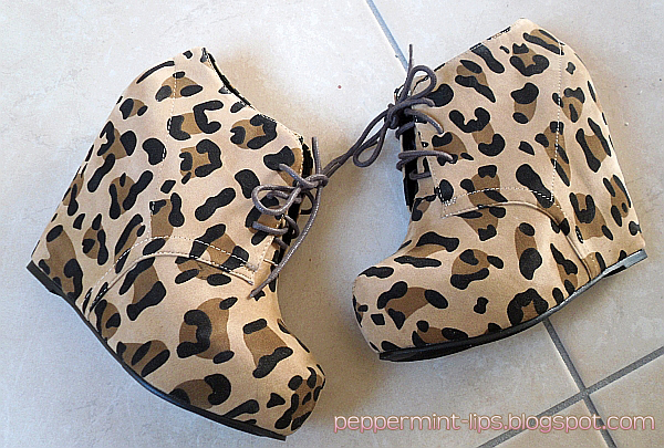 Rocking animal prints: GoJane leopard wedges!