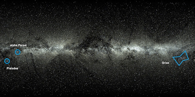 An all-sky view of the 2 057 050 stars from the Tycho-Gaia Astrometric Solution (TGAS), one of the products of the first data release from ESA's Gaia mission. The view also includes 24 320 bright stars from the Hipparcos Catalogue that are not included in Gaia's first data release.  The shape of the Orion constellation is highlighted towards the right edge of the frame, just below the Galactic Plane. Two stellar clusters can be seen towards the left edge of the frame: these are the alpha Persei (Per OB3) and Pleiades open clusters.  The stripes visible in the image reflect the way Gaia scans the sky and the preliminary nature of the first data release. Credit: ESA/Gaia/DPAC