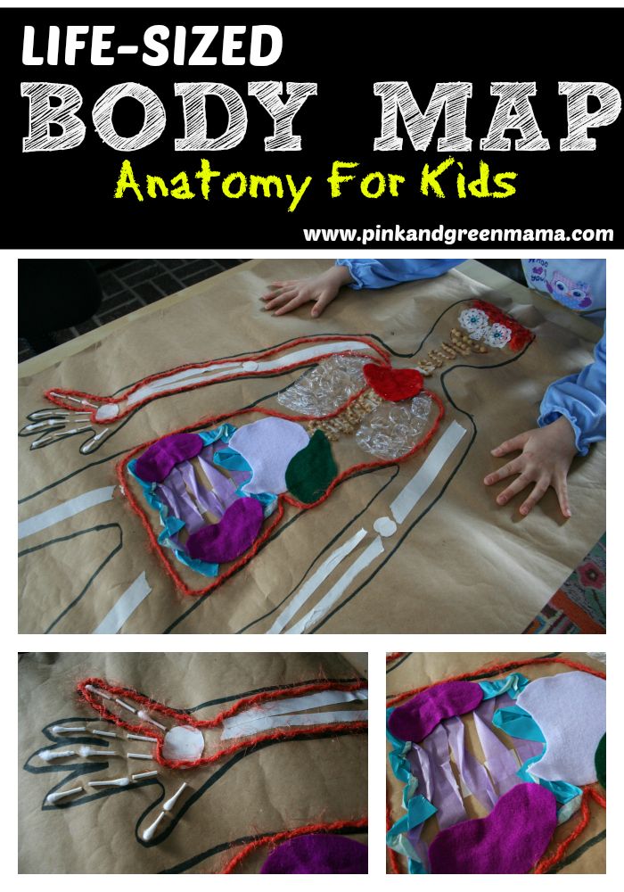 Pink and Green Mama: * Life-Sized Body Map Kid\'s Art Project
