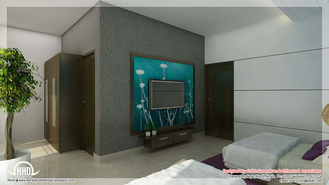 Beautiful bedroom interior designs kerala home design Home plans with interior pictures