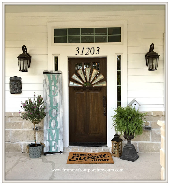 Suburban Farmhouse Front Porch-Craftsman style front door-Welcome Sign-Fern-From My Front Porch To Yours