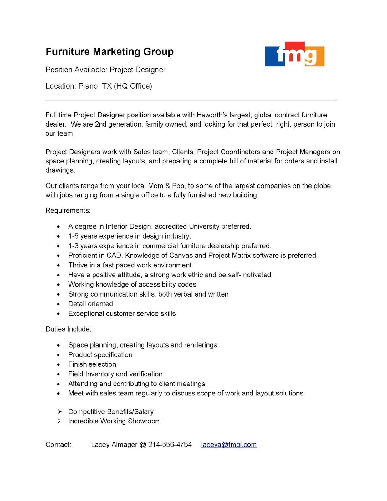 Interior Design Blog Project Designer Position At Furniture Marketing Group