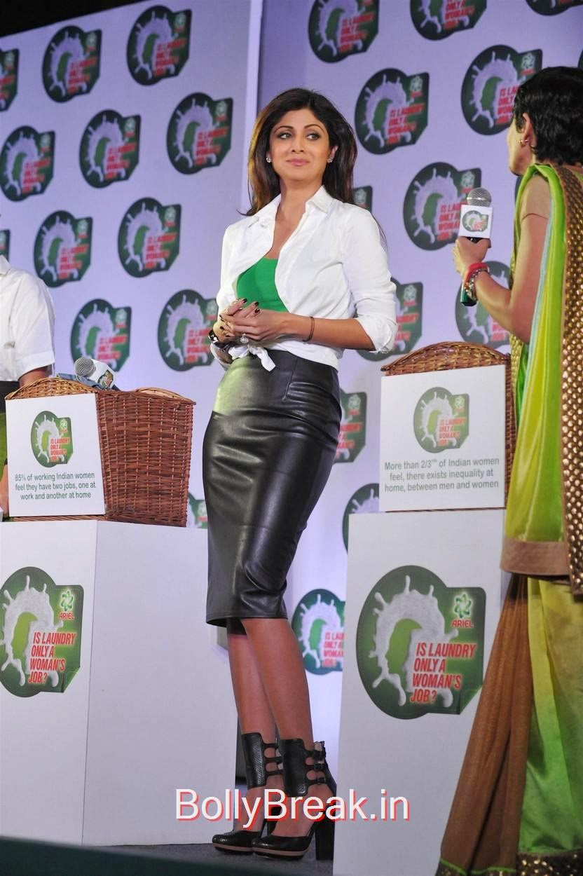 Shilpa Shetty Photos, Shilpa Shetty Hot Pics in Skirt  At Ariel Promotional Event National Survey