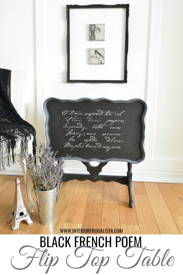 Black French Poem Flip Top Table