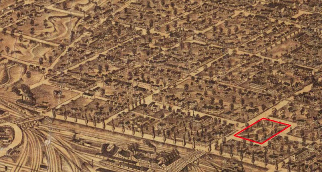 Detail from Bird's Eye View of Toronto, 1876 showing Clarence Square