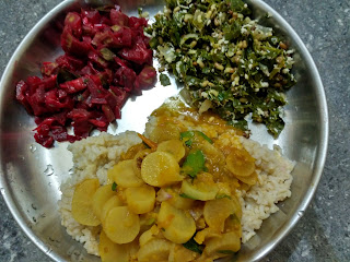 Ponni hand pounded rice, Radish sambhar, Beetroot Ridge gourd curry, Moringa greens Dew gram sprouts poriyal