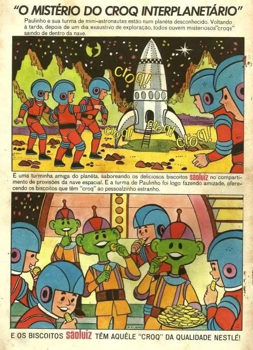 Propaganda antiga dos Biscoitos São Luiz em formato de história em quadrinhos veiculada nos anos 60