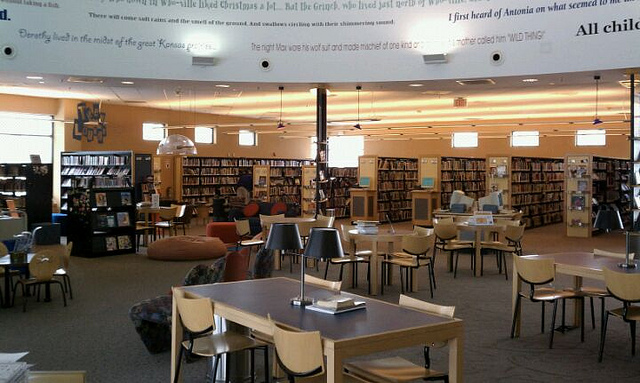 The library is a great resource for movies and other media.