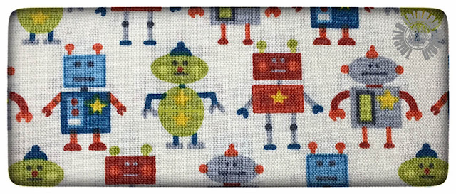 """Little Monster Robots"" fabric by The Henley Studio on Thistle Thicket Studio. www.thistlethicketstudio.com"