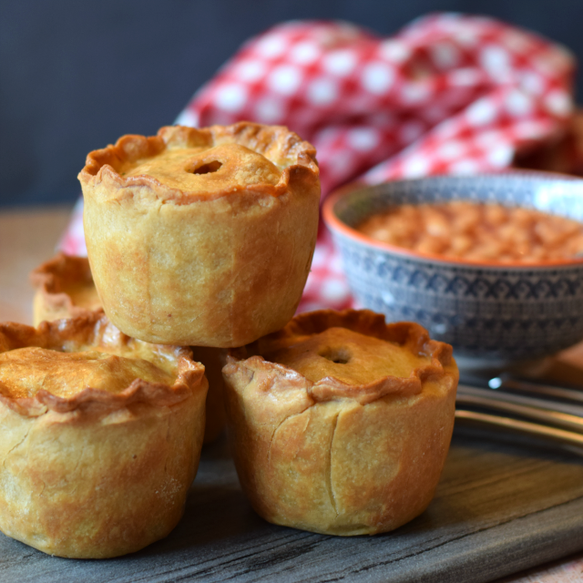 Vegetarian pork pies are great both warm as a familt meal or cold as part of a buffet, picnic or packed lunch