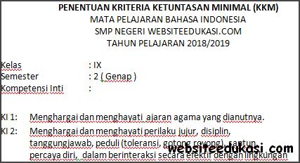 Kkm Bahasa Indonesia Kelas 9 Semester 2 K13 Terbaru Websiteedukasi Com