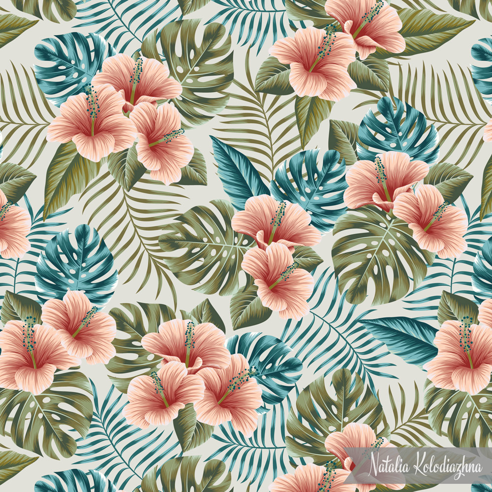 "Hibiscus floral design pattern for ""Undiscovered tropics"" collection"