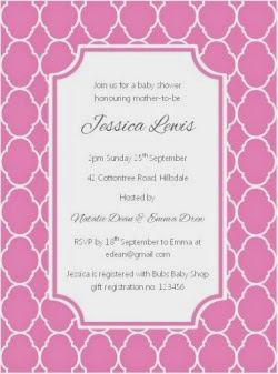 Quatrefoil printable Invitation in Pink by Love That Party perfect for baby showers, birthdays and bridal showers.