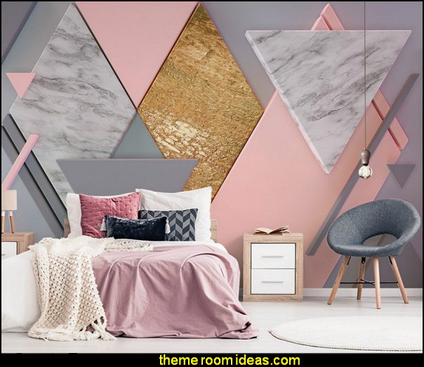 Marble Surface Wall Triangle Geometric Pattern wallpaper mural