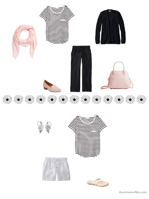 how to style a black and white striped tee shirt for warm weather