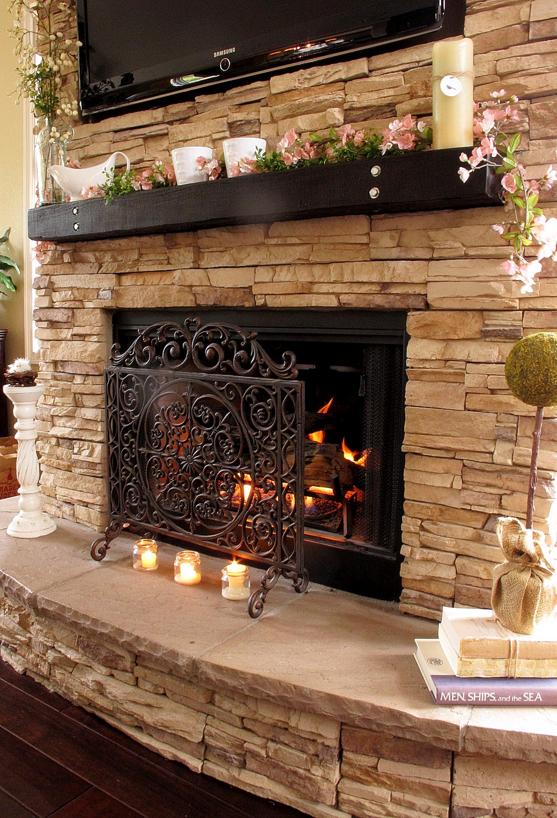 Stacked Stone Fireplace With Mantel