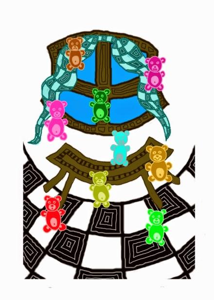 Digitális rajzon színes gumimacik, azaz medve formájú nyúlós gumicukrok ugrálnak pattognak, nyiszognak és pörögnek fel-alá a konyha kockás kövén.