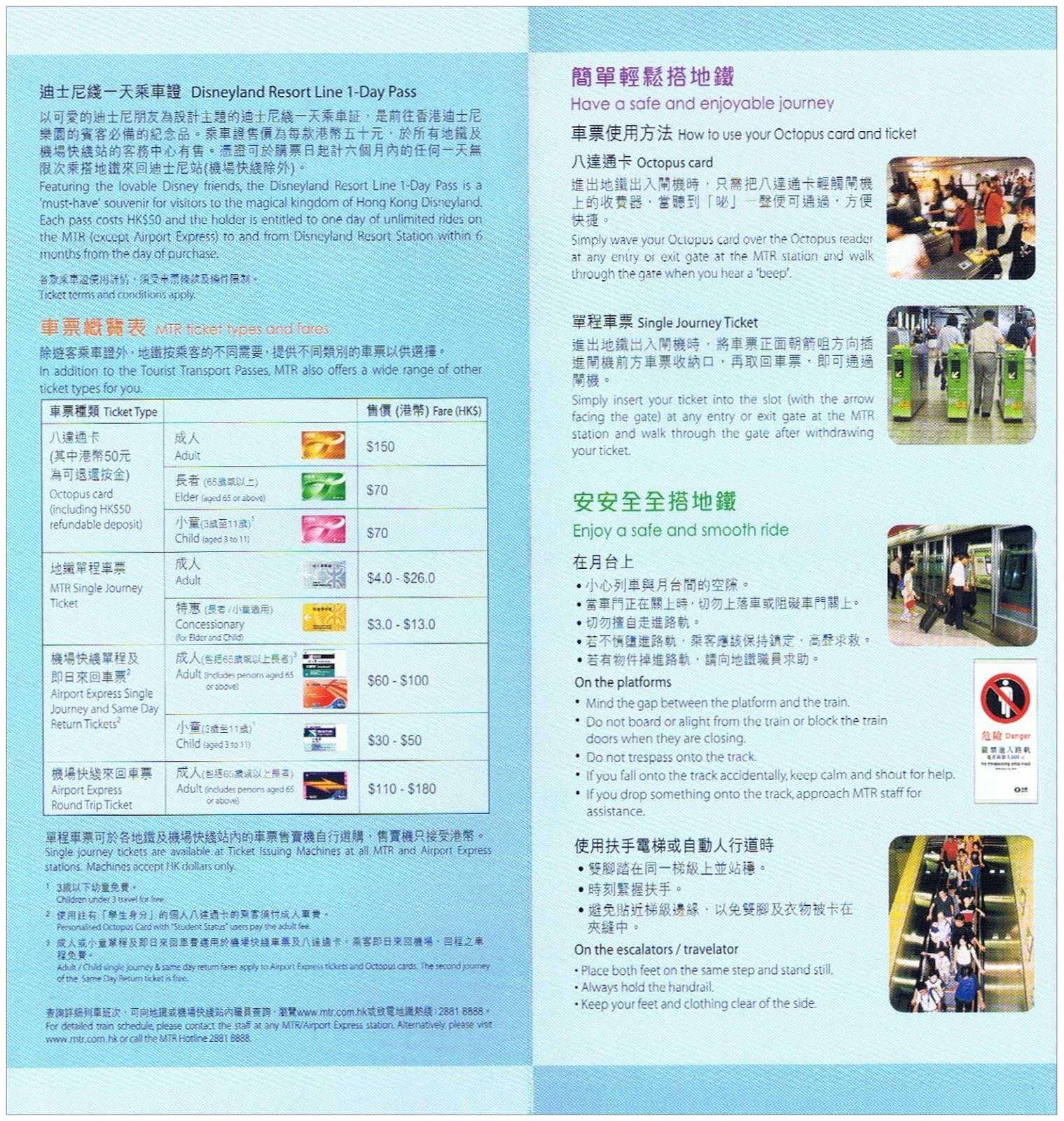 車票 Tickets : 地鐵單張 #L453 - 地鐵帶你遊遍香港旅遊熱點