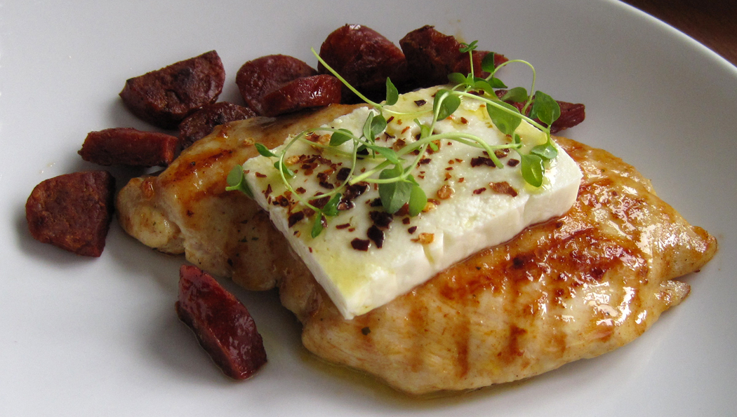 Pan-fried Chicken with Feta Chorizo