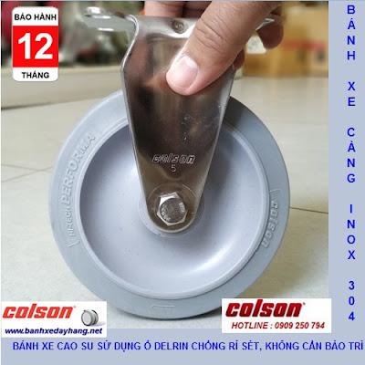 Bánh xe cao su 125x32mm càng inox 304 Colson không xoay | 2-5408-444 www.banhxeday.xyz