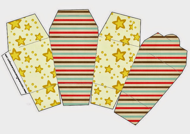 """Caja tipo """"de comida china"""" de Estrellas Doradas y Rayas de Colores."""