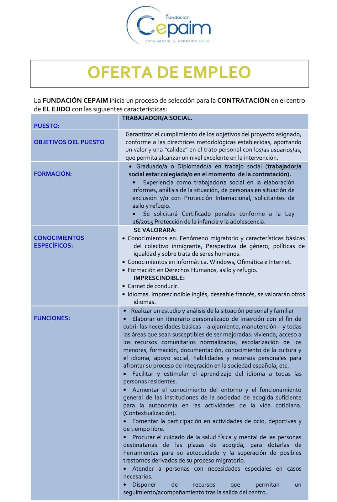 Ofertas de Empleo en España: Trabajador Social - El Ejido ... - photo#30