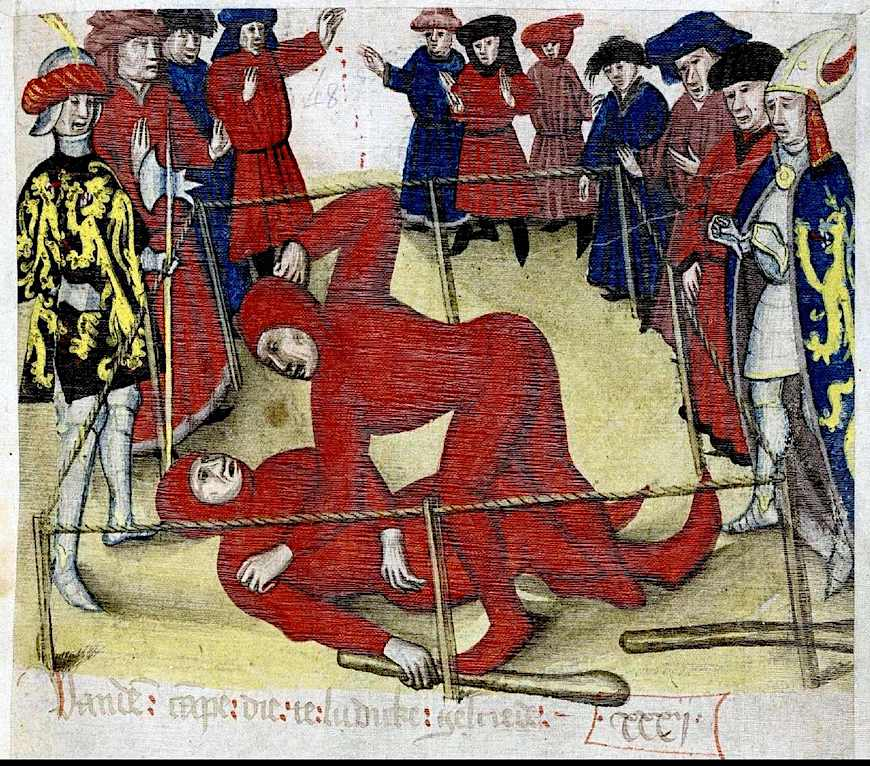 1300s sport and wagering, two men fighting while gentlemen cheer