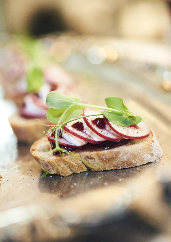Redcurrant Jelly Cicchetti with Ricotta & Radishes