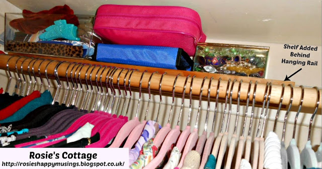 A narrower shelf is placed directly behind the clothes rail in the tiny closet giving valuable extra storage for items such as hair accessories or jewellery.