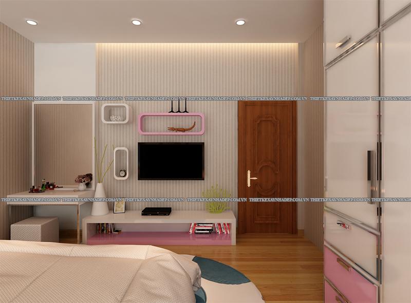 Mẫu thiết kế nội thất phòng ngủ đẹp anh Đăng - chị Thu Ngân Q.2 Phong-ngu-con-gai-3