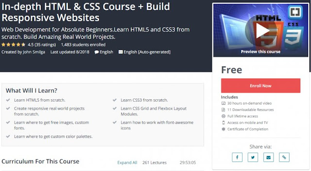 [100% Free] In-depth HTML & CSS Course + Build Responsive Websites (30 Hours)