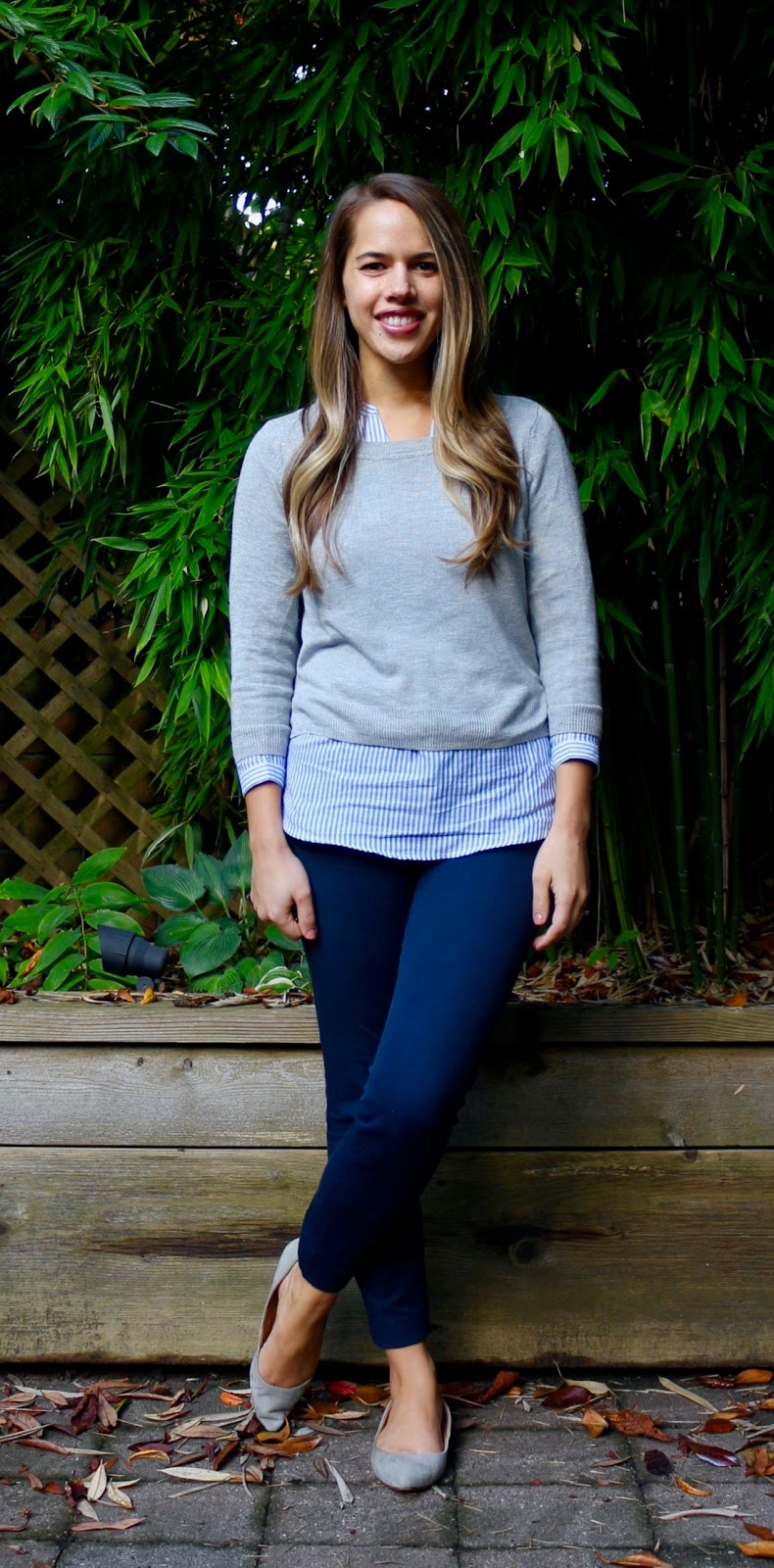 Jules in Flats - Cropped Sweater with Striped Shirt (Business Casual Fall Workwear on a Budget)