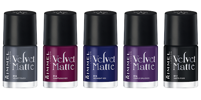 Velvet Matte Nail Collection Rimmel: Velvet Touch n°013 - Sumptuous Red n°014 - Midnight Kiss n°015 - Purple Opulence n°016 - Matte-itude n°017