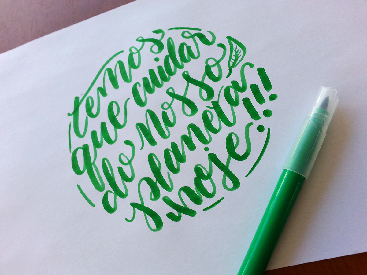 brush pen calligraphy - cuidar do planeta