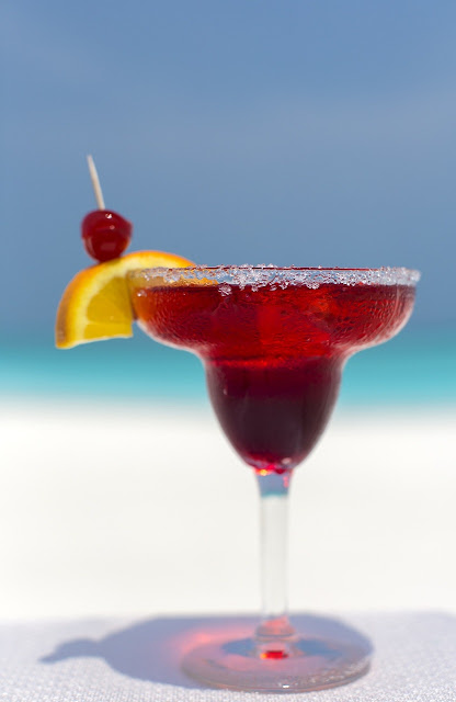 Diet Cranberry Cocktail with a Lemon Slice and Cherry
