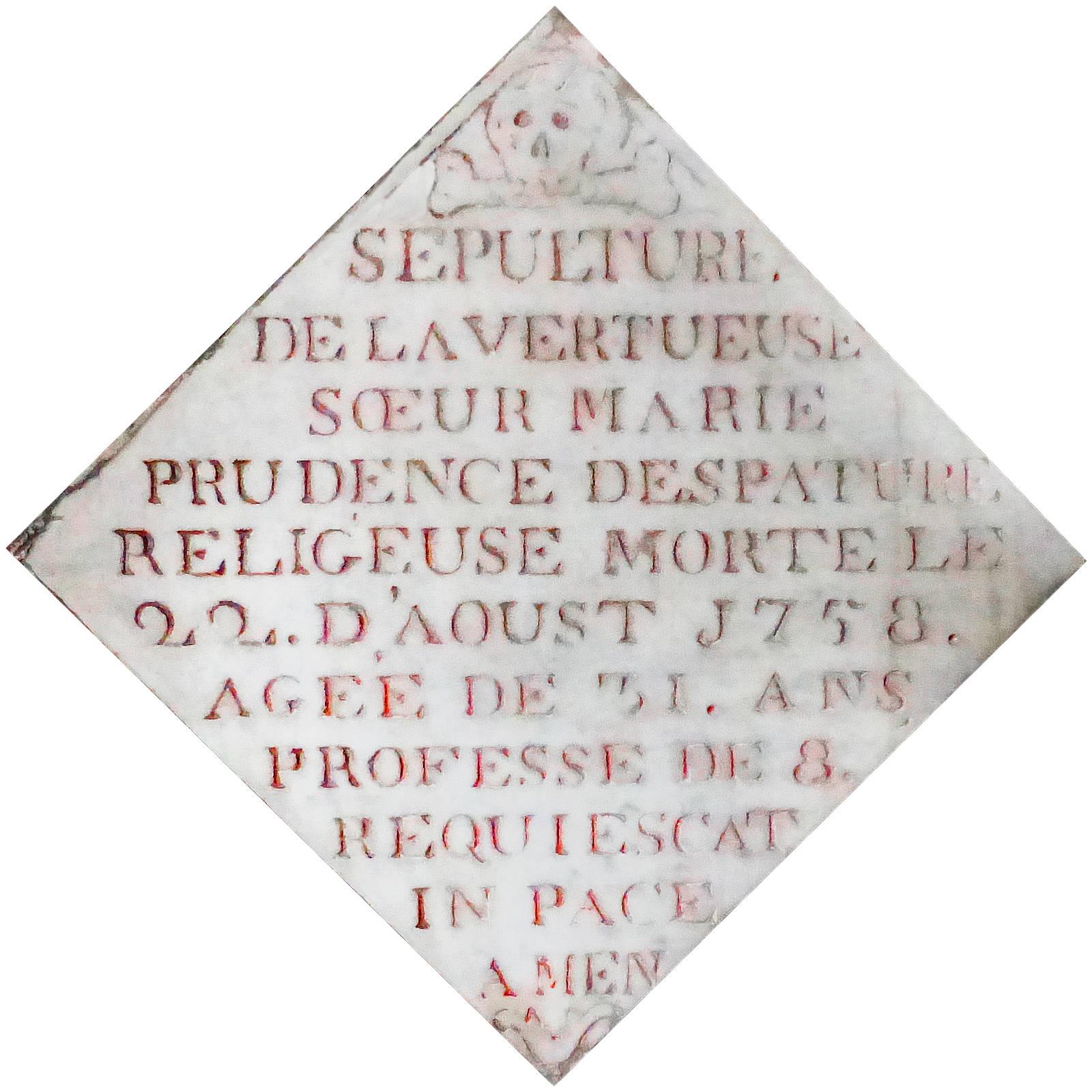 Carrelage Mortuaire Soeur Marie Prudence Despature